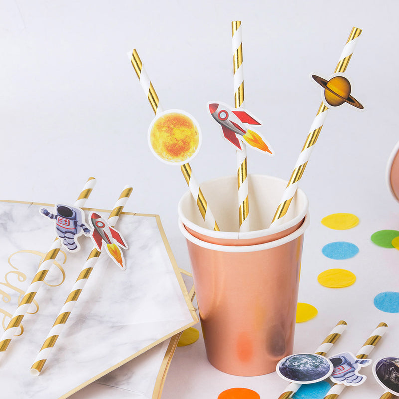Blast Off to Outer Space Rocket Ship Baby Shower Birthday Paper Straws - Sunbeauty