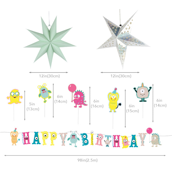 Little Monster Bash Happy Birthday Party Decoration Set - Sunbeauty