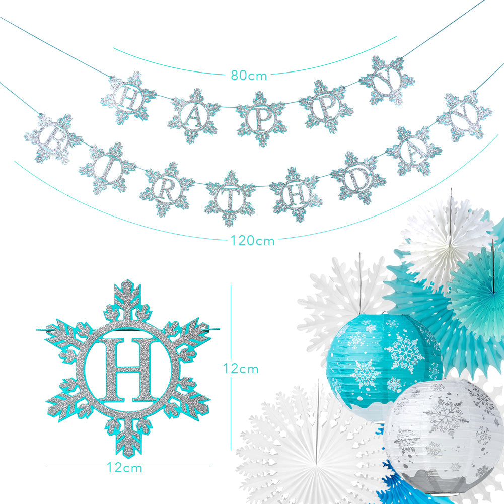 Frozen Birthday Decorations Snowflake Theme Party Supplies - Sunbeauty