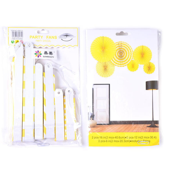 Yellow Folding Paper Fans Set(6Pcs) - Sunbeauty