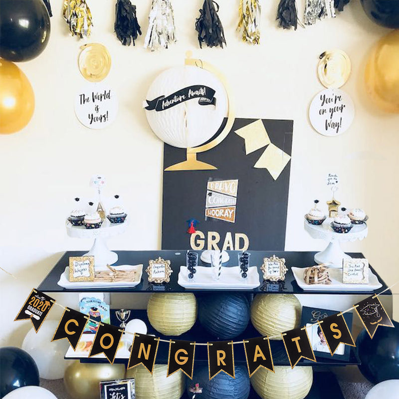2020 Congrats Grad Graduation Party Garland Banner - Sunbeauty