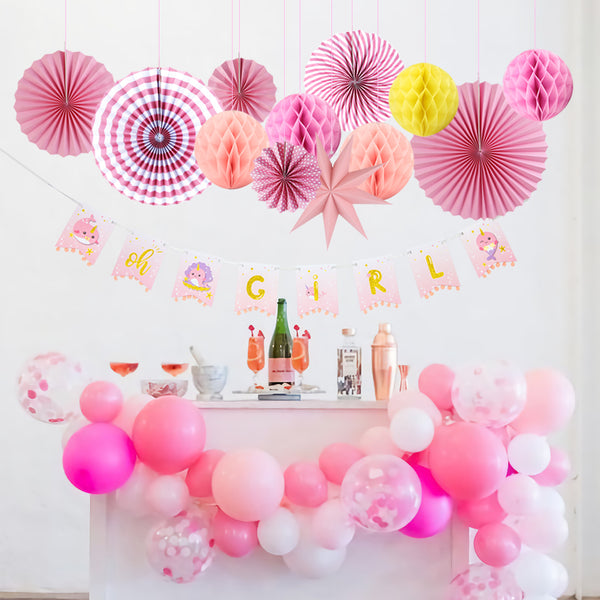 Pink Baby Shower Decorations For Girl - Sunbeauty