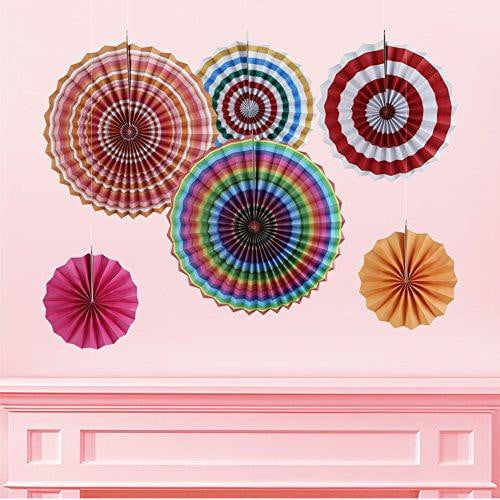 Rainbow Folding Paper Fans Set(6Pcs) - Sunbeauty