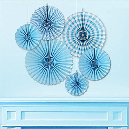 Blue Folding Paper Fans Set(6Pcs) - Sunbeauty