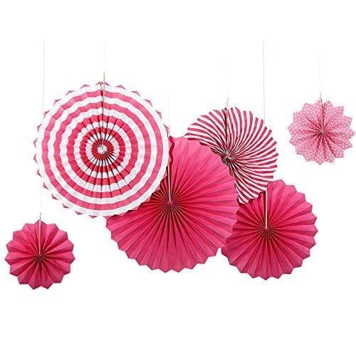 Rose Red Folding Paper Fans Set(6Pcs) - Sunbeauty