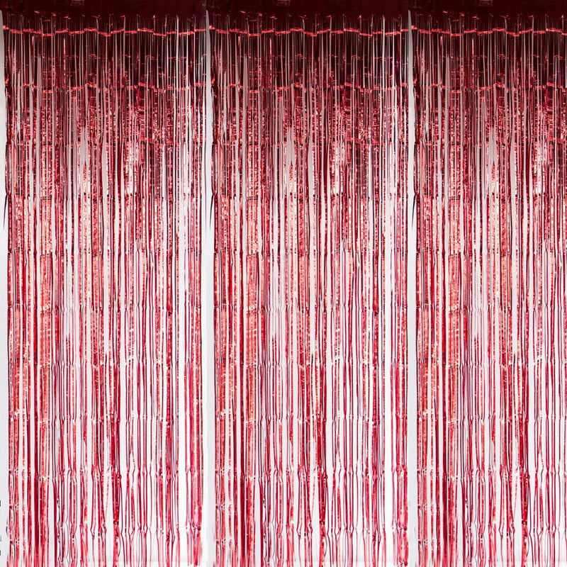 Red Foil Curtains - Sunbeauty