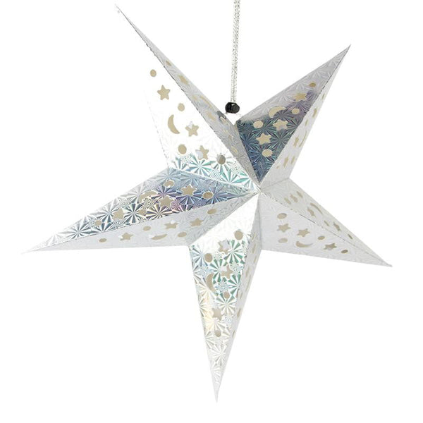 Silver laser five-pointed paper star - Sunbeauty