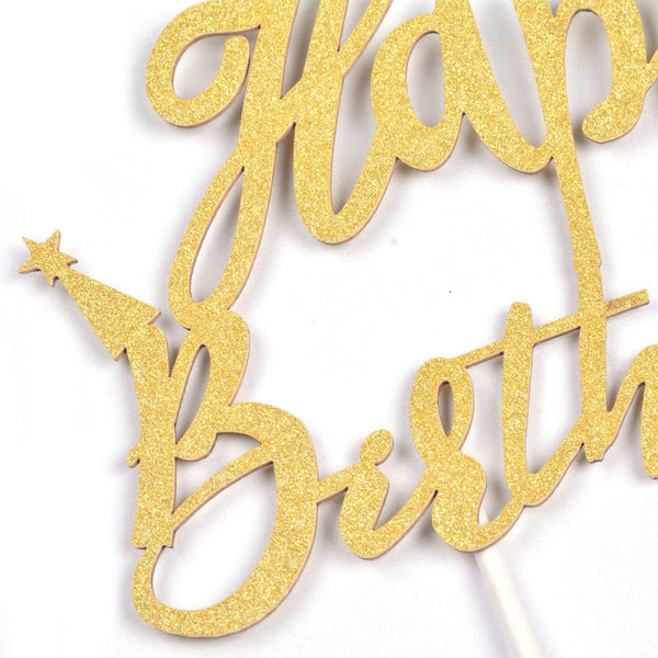 Golden Glitter Happy Birthday Paper Cake Topper(2Pcs) - Sunbeauty