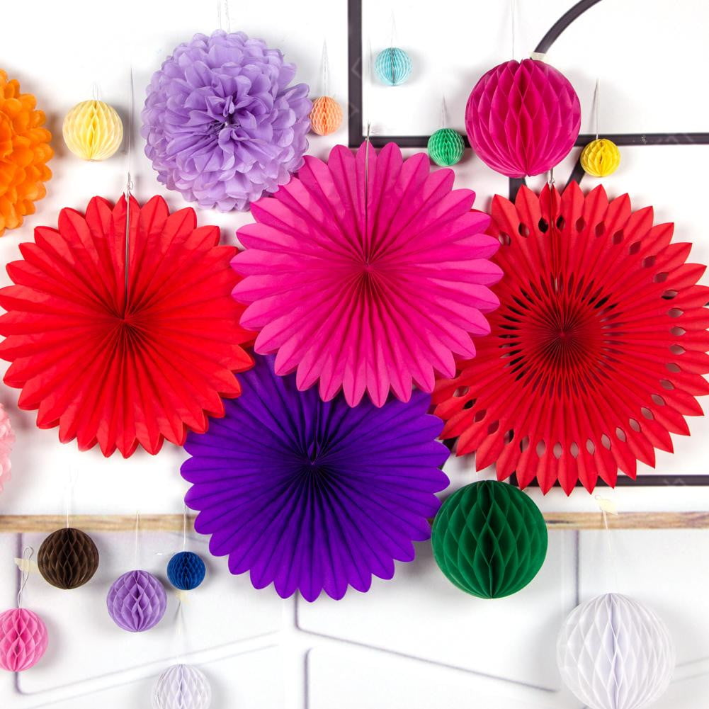 Paper Pinwheel Pompom Honeycomb Ball Decorations - Sunbeauty