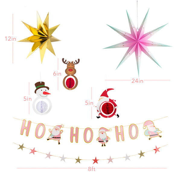 Christmas Party Decoration Set of Hanging Tissue Paper Fans Circle Paper Star - Sunbeauty
