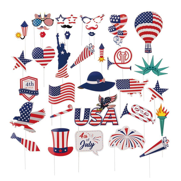 Independence Day Photo booth props(34Pcs) - Sunbeauty