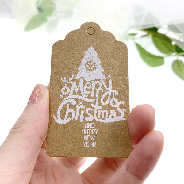 25pcs Christmas Kraft Gift Tags Labels with String - Sunbeauty