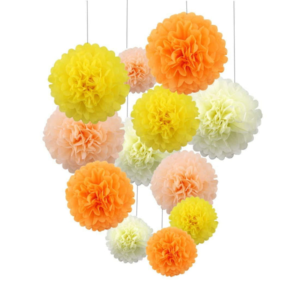 Orange Tissue Paper Pompom - Sunbeauty