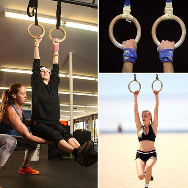 Gymnastic Rings Workout Set with Adjustable Straps for Full Body Strength Training and Bodyweight Crossfit Exercise - Sunbeauty