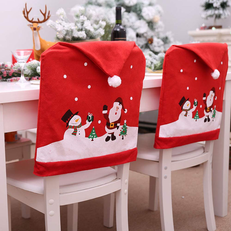 Red Santa & Snowman Chair Covers for christmas Dining Room - Sunbeauty