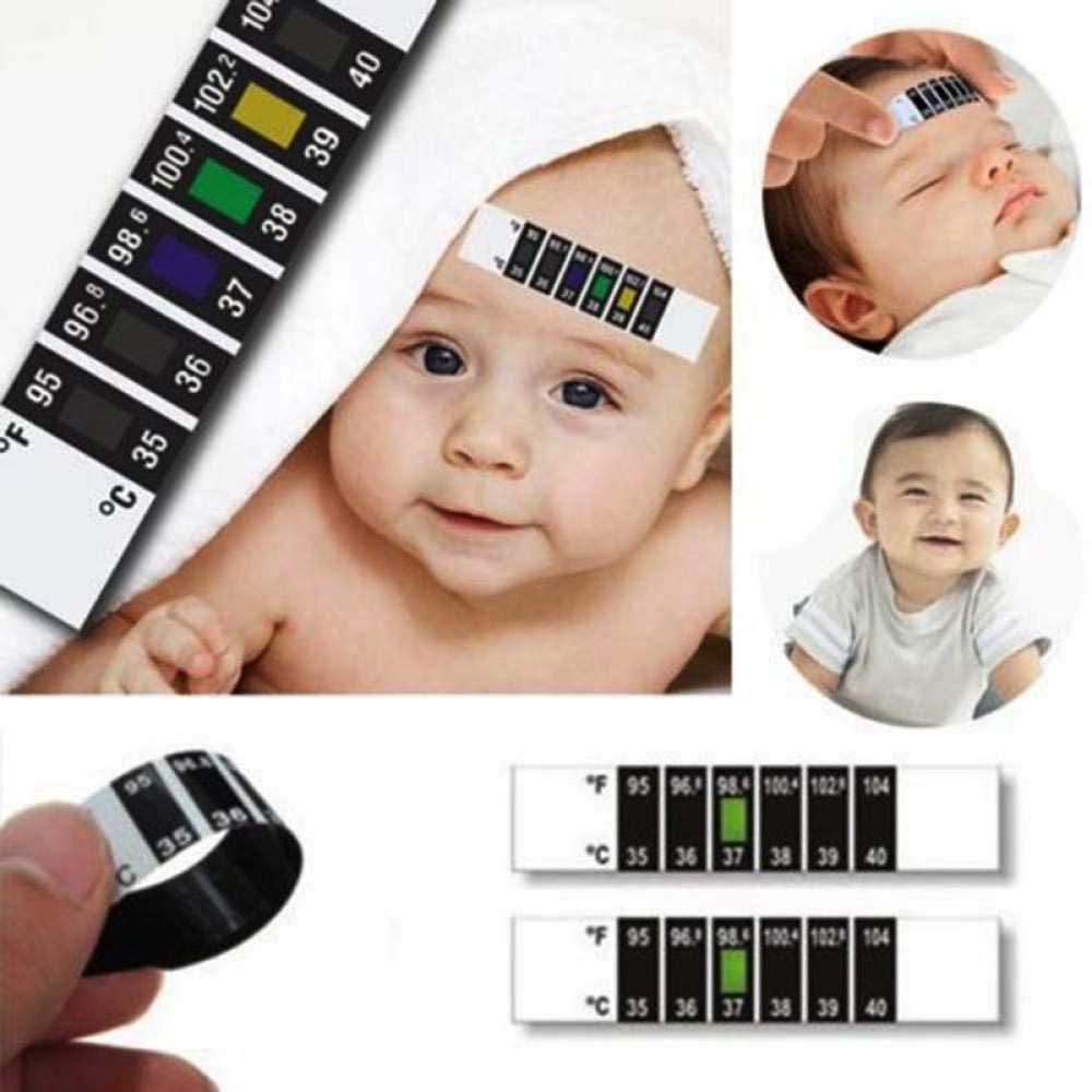 FreeShipping-10 Pcs Baby Reusable Forehead Thermometer Strips - Sunbeauty