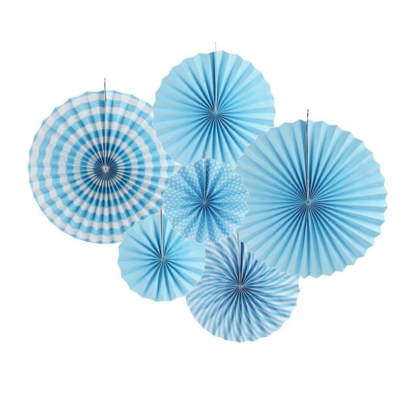 Blue Folding Paper Fans Set(6Pcs) - cnsunbeauty