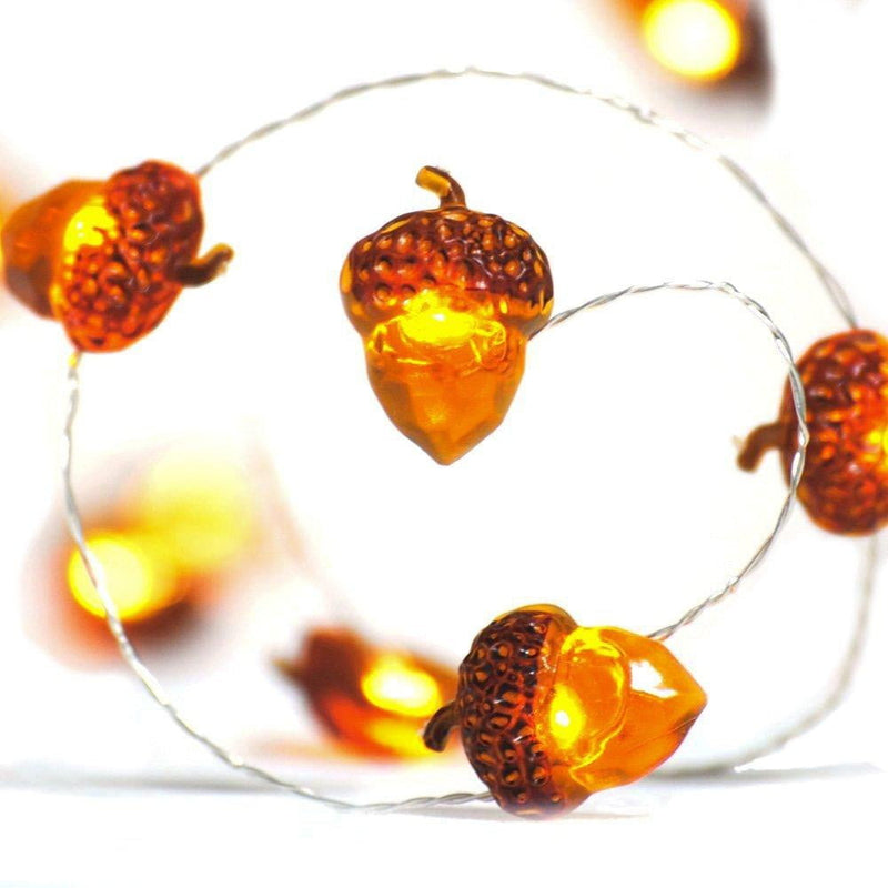 Thanksgiving Autumn Decoration 10ft LEDs Acorn Lights String with Remote - Sunbeauty
