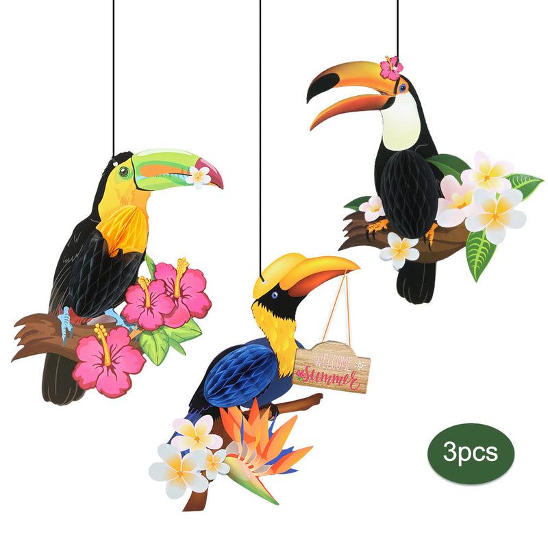 Parrot Honeycomb Toucan Hanging Decor For Summer Beach Tropical Party Ornament