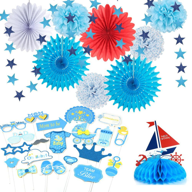 Baby Shower Decorations For Boy With Paper Pinwheels - Sunbeauty