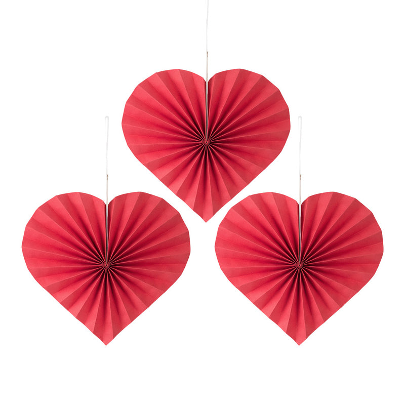 3Pcs Red Heart Valentines Party Hanging Decorations Paper Fans - Sunbeauty