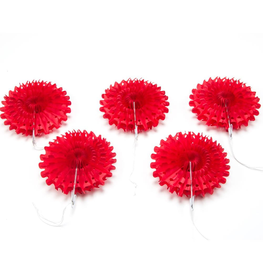 Red Snowflake Tissue Paper Fans/Pinwheel - Sunbeauty