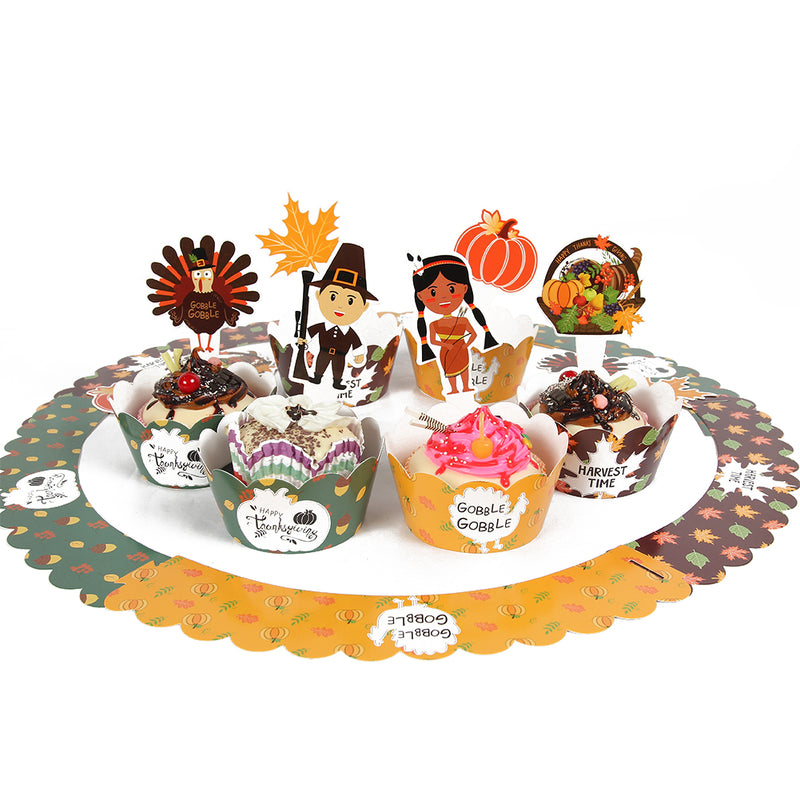 Thanksgiving Cupcake Toppers Wrappers Decorations Kit - Sunbeauty