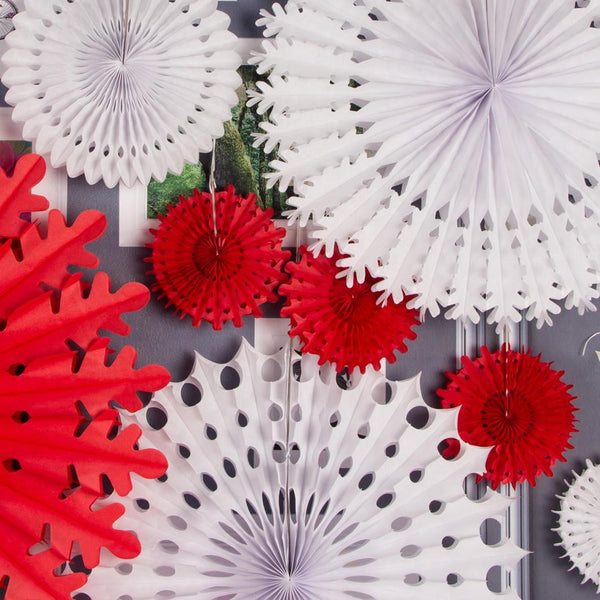 White/Red Birthday Party Snowflake Pinwheel Paper Fan Set - Sunbeauty