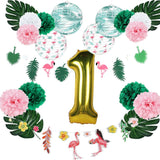 Tropical Pink Flamingo Hawaiian Luau First Birthday Party Decorations