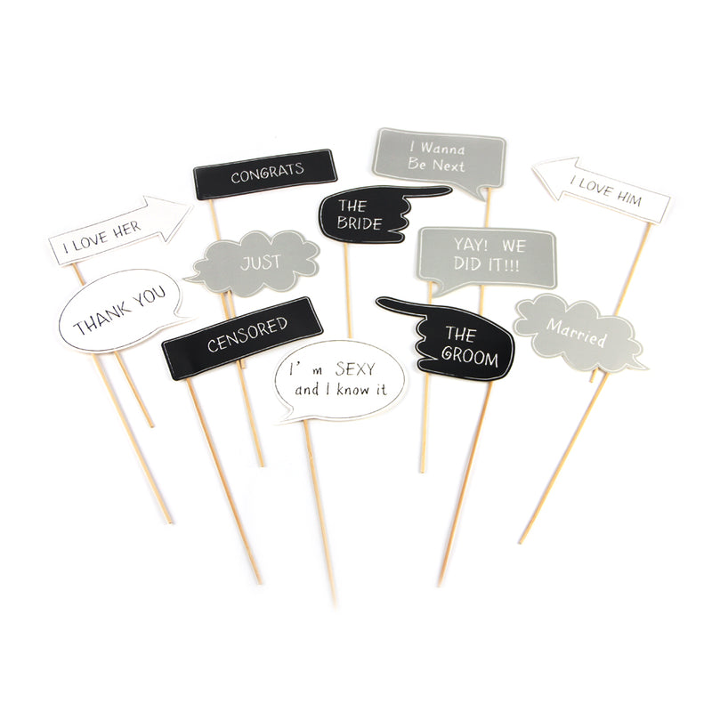 Wedding Party Photo Booth Props Kit - Sunbeauty