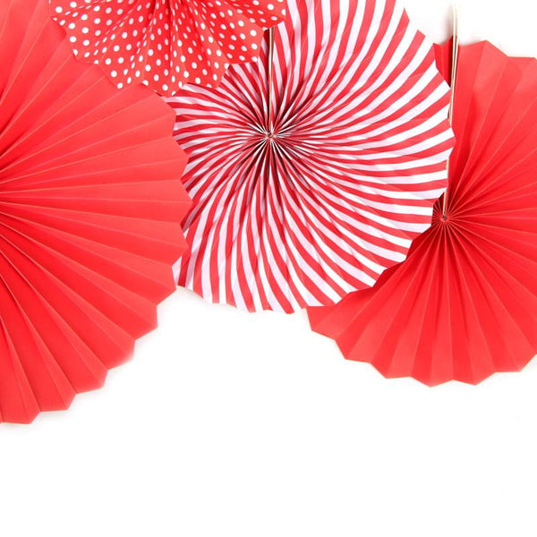Red Folding Paper Fans Set(6Pcs) - Sunbeauty