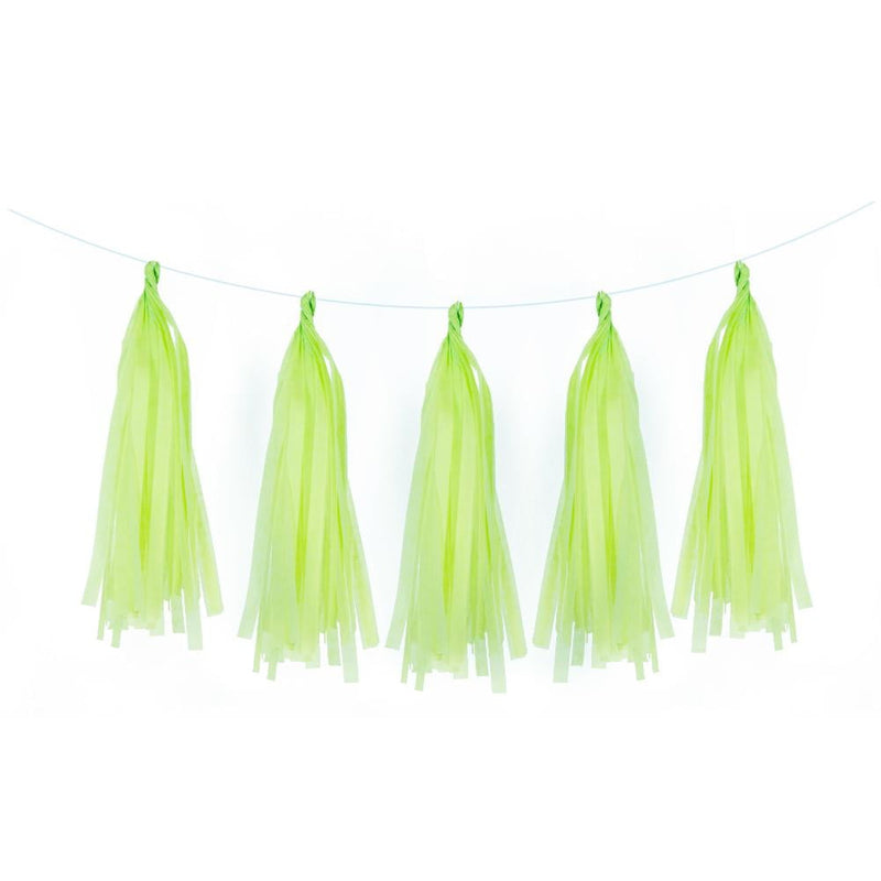 5Pcs Light Green Tissue Paper Tassel - Sunbeauty
