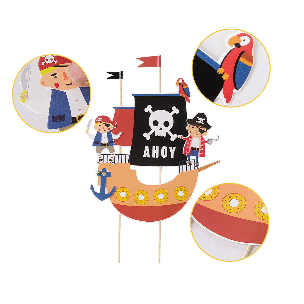 DIY Boys' Birthday Pirate Themed Cake Toppers Decorations - Sunbeauty