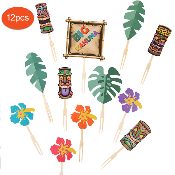 Tiki Beach Parties Luau Hawaiian Tropical Cupcake Toppers - Sunbeauty