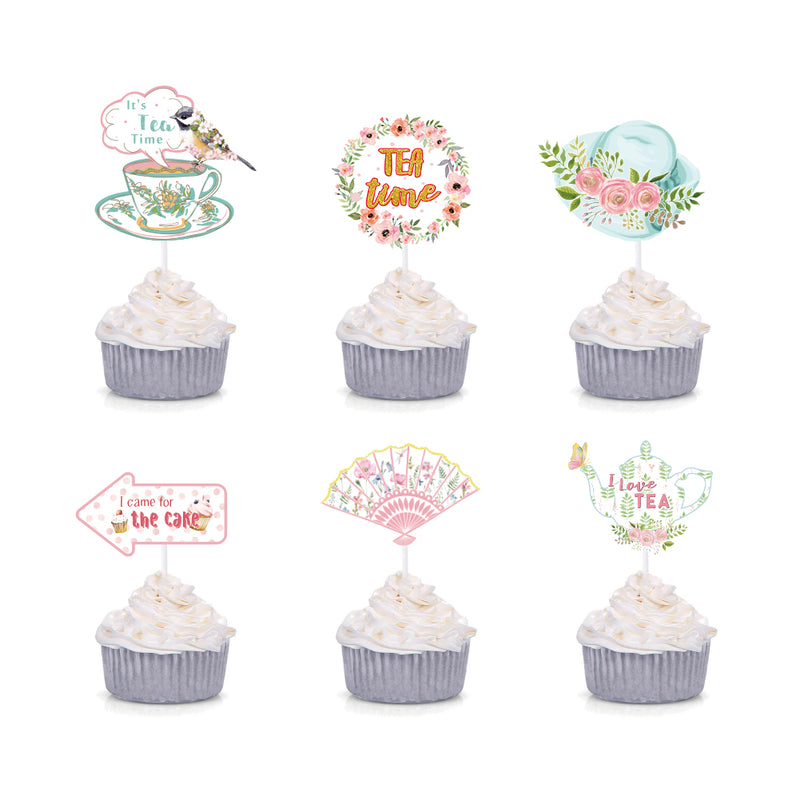 Tea Party Decoration Cupcake Toppers for Bridal Shower Party Supplies - cnsunbeauty