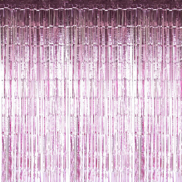 Rose Pink Foil Curtains - cnsunbeauty