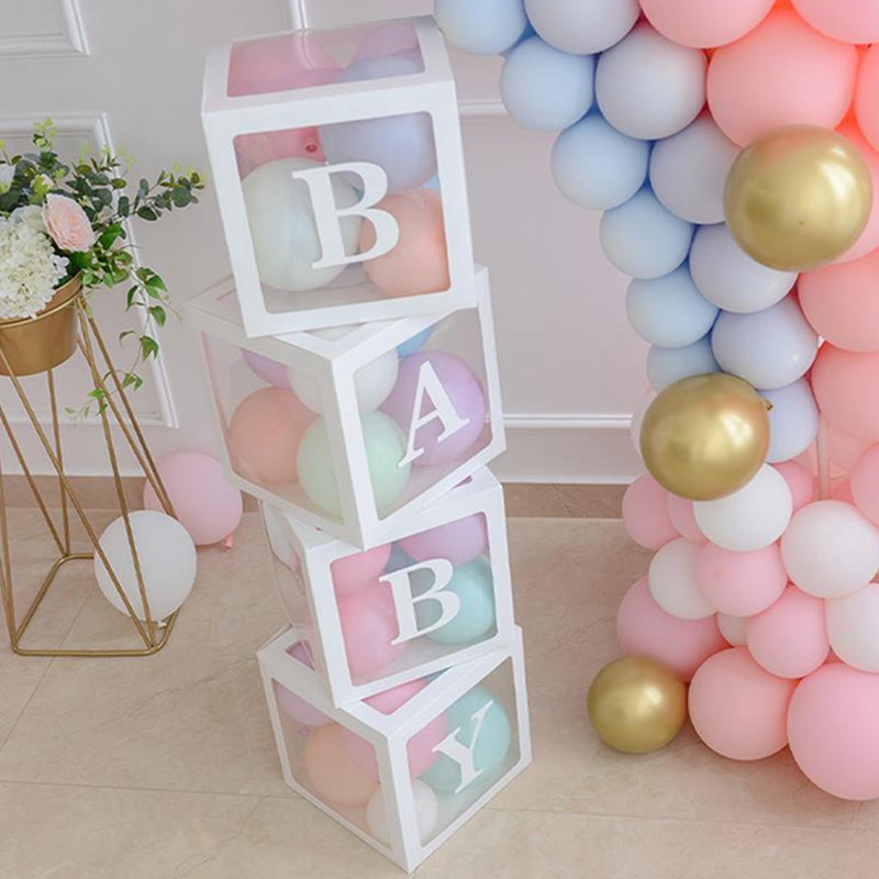 FreeShipping-4pcs Baby Shower Decor Reveal Backdrop Balloon Transparent Box