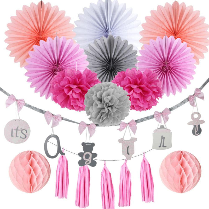 Pink It's a girl Baby shower Decorations - Sunbeauty
