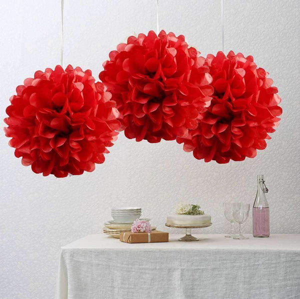 Red Tissue Paper Pompom - Sunbeauty