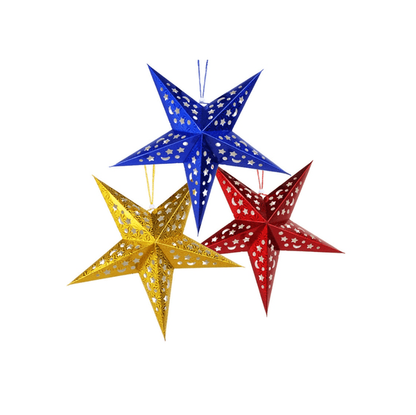Blue laser five-pointed paper star - Sunbeauty