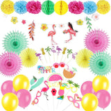 Hawaiian Flamingo Tissue Paper Pom Poms Flowers Decoration for Summer Beach Luau Party - Sunbeauty