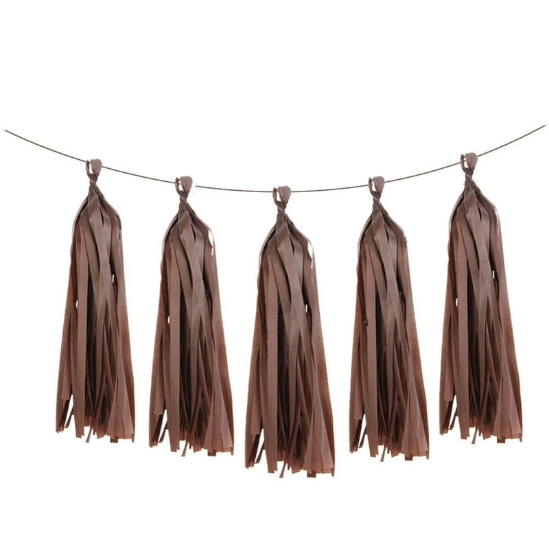 5Pcs Brown Tissue Paper Tassel - Sunbeauty