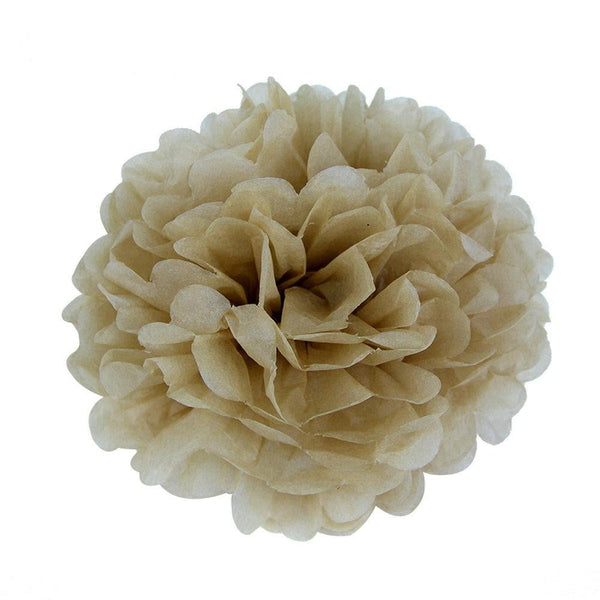 Brown Tissue Paper Pompom - cnsunbeauty