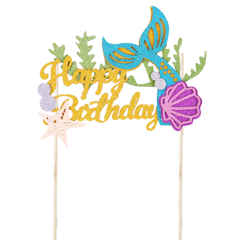 Glitter Mermaid Tail Cake Topper Happy Birthday Cake Picks - cnsunbeauty