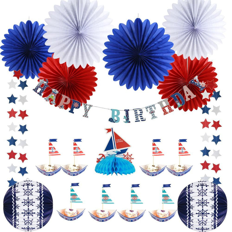 Boys Nautical Birthday Party Decoration Set - cnsunbeauty