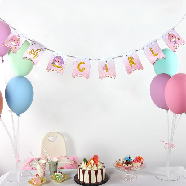 OH GIRL Narwhal Baby Shower Banner(Pink) - Sunbeauty