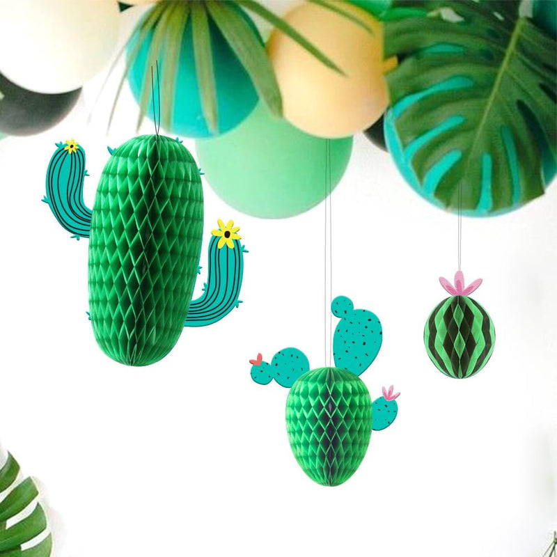 Summer Cactus and Watermelon Honeycomb Decoration(3Pcs)