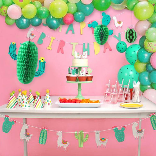 Summer Cactus and Watermelon Honeycomb Decoration(3Pcs) - Sunbeauty