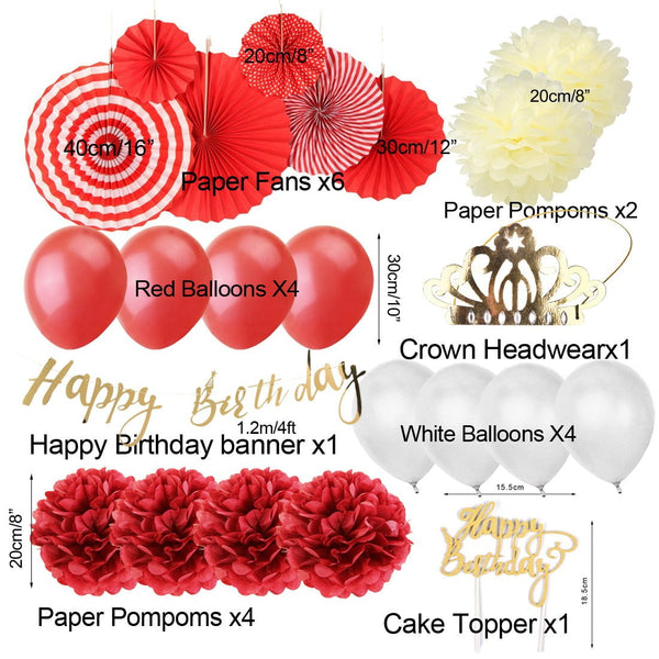 Red/White Happy Birthday Decoration - Sunbeauty