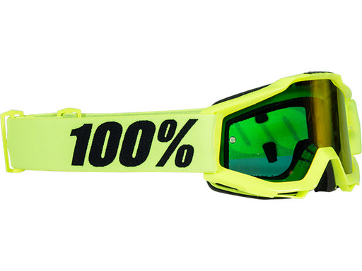 100% Accuri Youth Goggles-Fluorescent Yellow-Mirrored Red Lens  - J&R Bicycles BMX Super Store